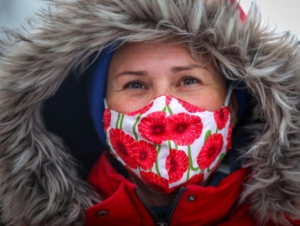 Lisa joseph poppy mask remembrance day covid 19 calgary pandemic